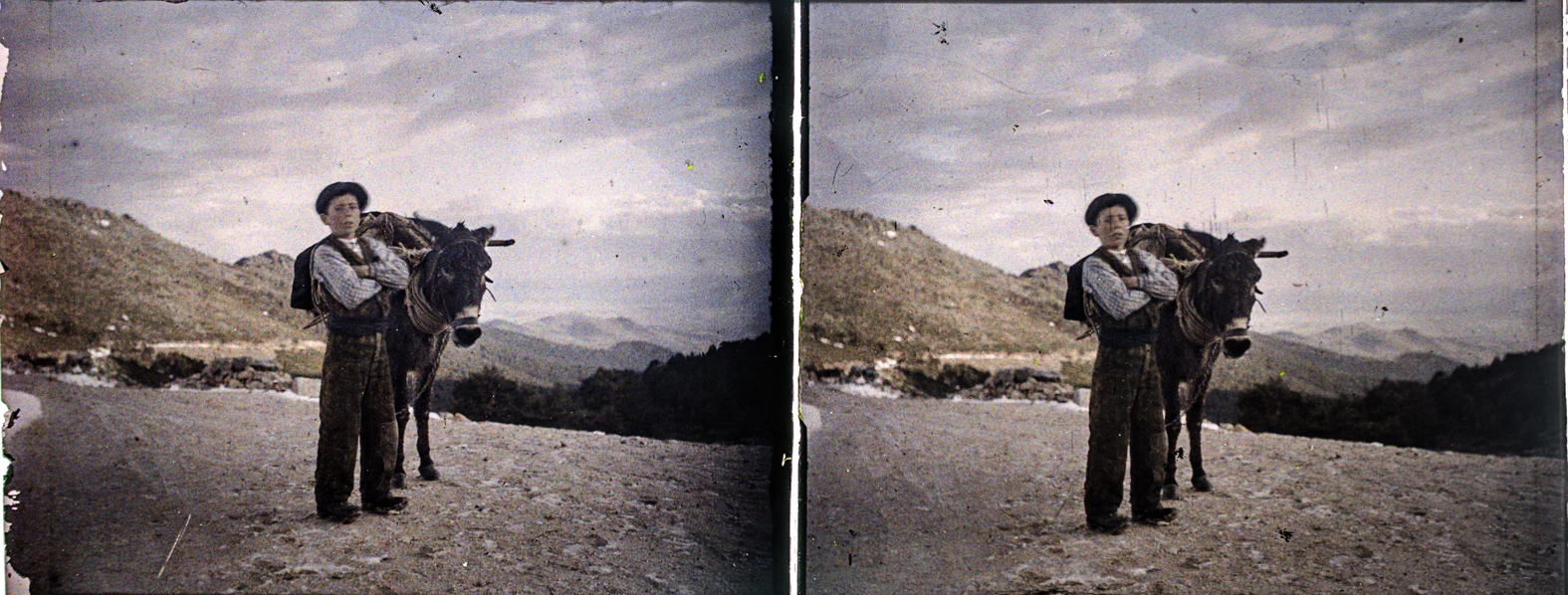 Zagal y burro. Carretera de Navacerrada, 1910. © Herederos F. Avial.