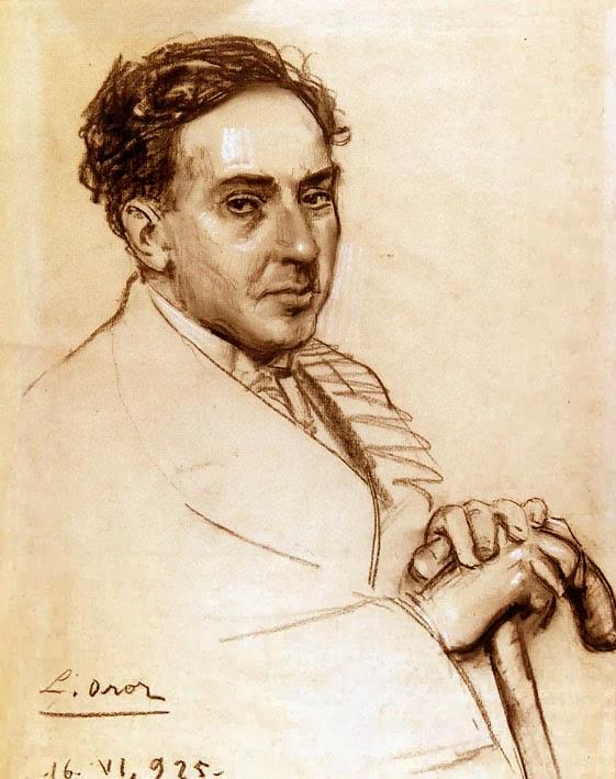 Retrato de Antonio Machado, sanguina de Leandro Oroz Lacalle (1883 - 1933). Fondos de la Fundación Ortega y Gasset