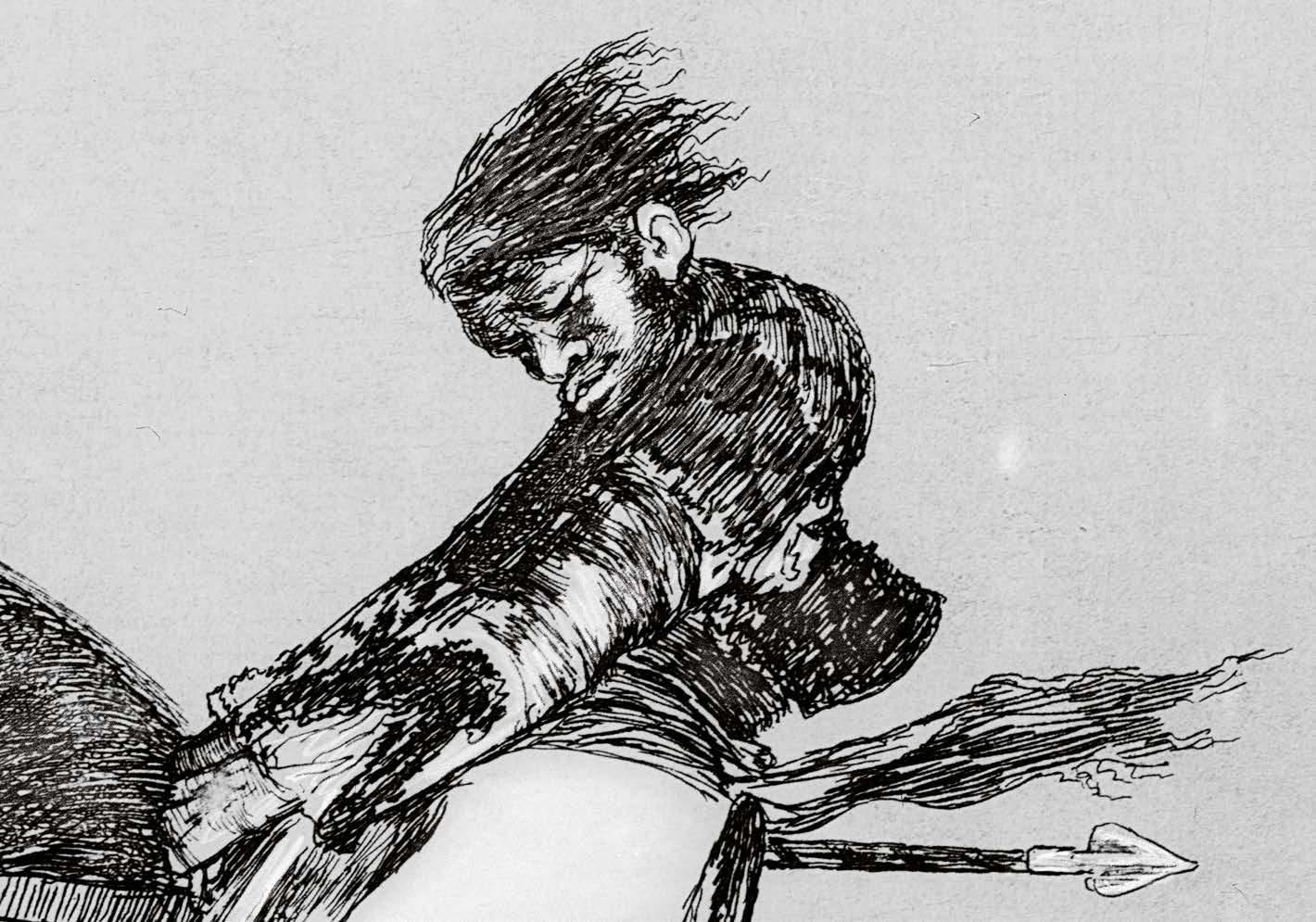 "Detalle ""El mismo Ceballos montado sobre otro toro quiebra rejones en la plaza de Madrid"", serie Tauromaquia. Roberto Kallmeyer."