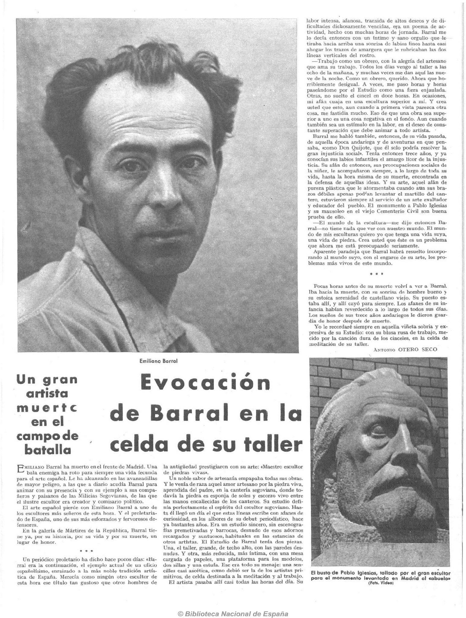 Emiliano Barral, escultor segoviano, caído en la defensa de Madrid el 21 de noviembre de 1936. Crónica, Hemeroteca BNE.