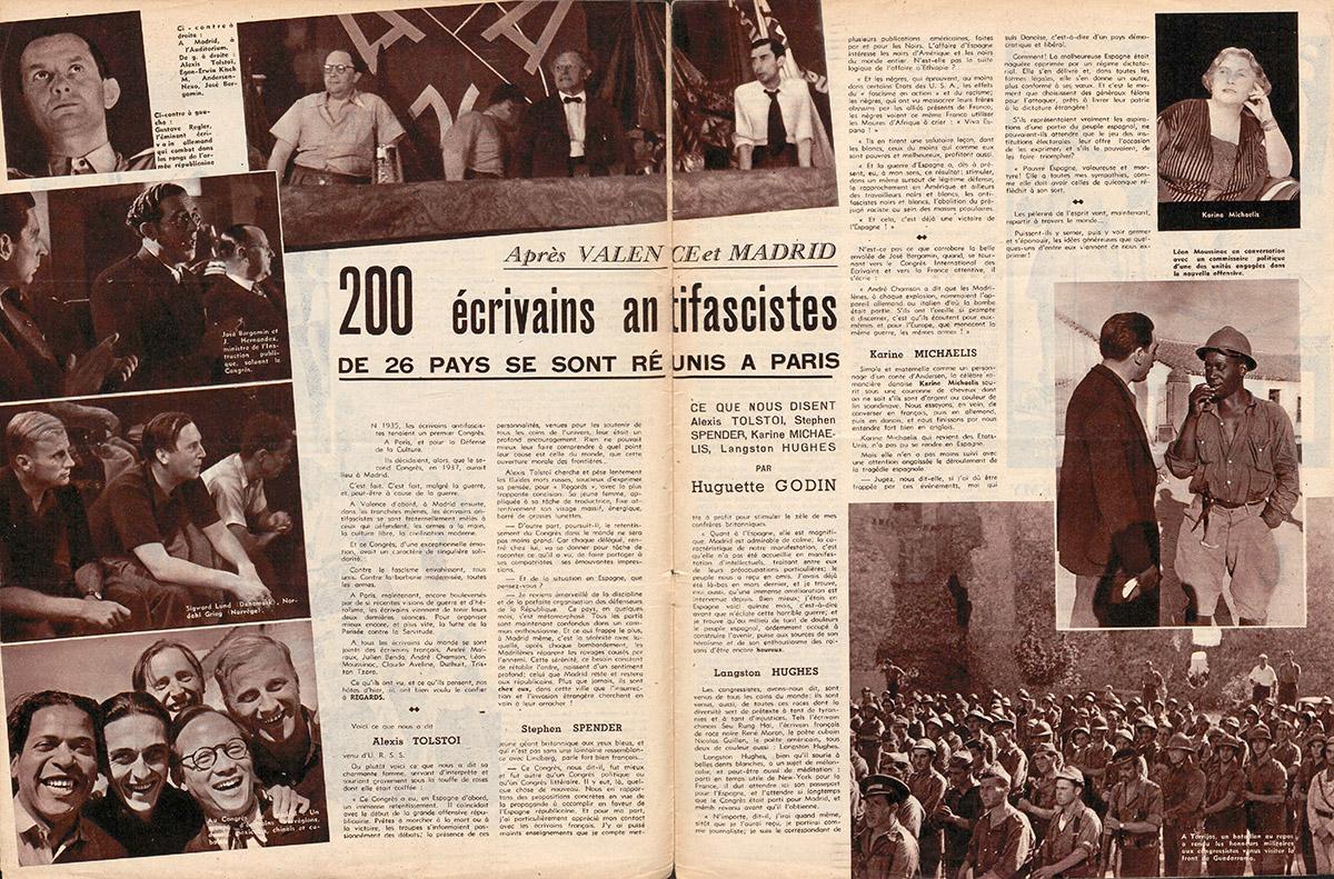 Doble página de la revista Regards con la crónica del II Congreso de escritores. Publicado el 22 de julio de 1937. Hemeroteca digital BNF.