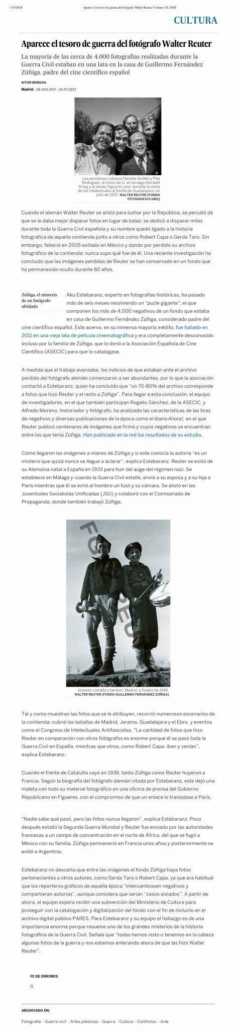 El País, el archivo fotográfico de Walter Reuter