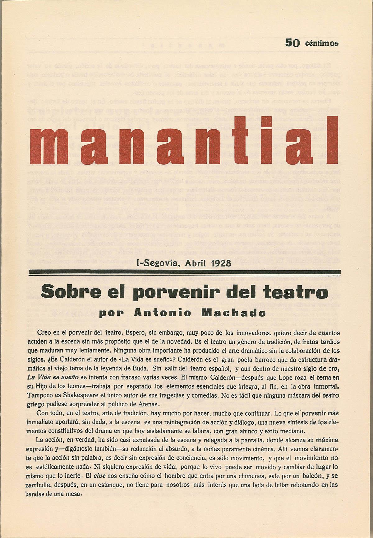 PAG 7 PORTADA MANANTIAL - Antonio Machado en Segovia. Vida y Obra
